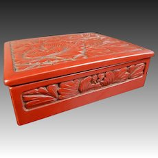 Japanese Vintage Tsuishu or Carved Lacquered Wood  Box with Flower Relief