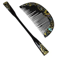 Japanese Antique Black Mother of Pearl Kanzashi 簪 Comb and Kogai