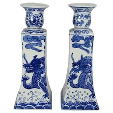 Chinese Vintage Porcelain Pair of Blue and White Candlesticks Unryu  Dragon