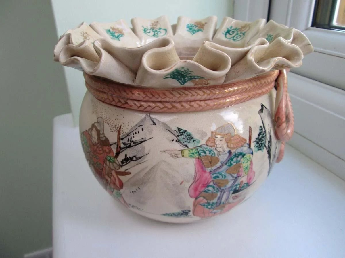 Japanese Vintage Banko Ware Porcelain Money Bag Pot The