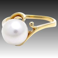 Japanese Vintage Famous Mikimoto 8mm Cultured Pearl Ring 18K Gold