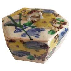 Japanese Antique Banko Ware Hexagonal Kogo Small Box