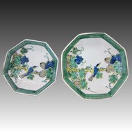 Japanese Vintage Kutani Pair of Porcelain Pedestal Dishes, Compote by Kasen