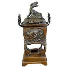 Japanese Tall Antique Patinated Copper Ware Censer in Low Relief
