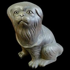 Japanese Antique Bizen Pottery Statue Ornament of a Puppy