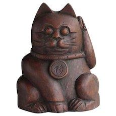 Japanese Vintage Maneki -neko Good Luck Cat of Rare Carved Bamboo