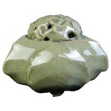 Old Korean Celadon Crackle Glaze Censer or Incense Burner Late Summer Leaf