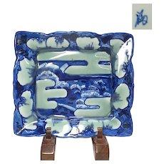 Japanese Antique Imari 伊万里焼 Sometsuke-Seiji Fine Scalloped Square Ozara Platter