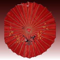 Japanese Vintage Waxed Rice Paper and Bamboo Wagasa Parasol or Umbrella