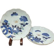 Pair of Japanese Antique Imari 有田焼 Porcelain Nakazara Plates with Peony and Butterflies