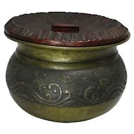 Japanese Antique Mixed Metal Bronze Kensui for Sado Nami Chidori Decoration