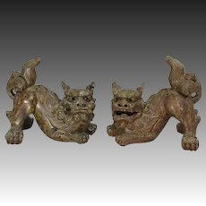 Japanese Vintage Karatsu Pottery Pair of Foo Dogs Okimono Statues
