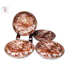 Japanese Vintage Kutani Porcelain Set of Akae Tea plates or Side Dishes