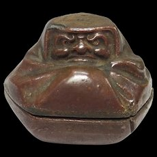 Japanese Antique Rare Bizen Kogo of Dharma or Daruma