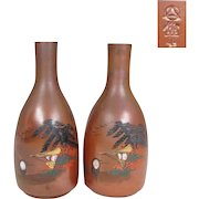 Japanese Vintage Pair of eBizen -yaki Tokkuri 徳利 or Sake Bottles Seaside E-Bizen