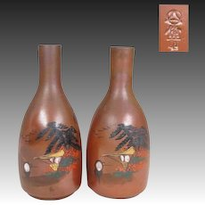 Japanese Vintage Pair of eBizen -yaki Tokkuri 徳利 or Sake Bottles Seaside E-Bizen