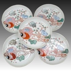 Japanese Antique Seto Ware Set 'Uchide-no-Kozuchi' Porcelain Dishes