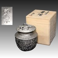 Japanese Vintage Enameled Bronze Cast Kodo or Censer Chrysanthemums by Tanei
