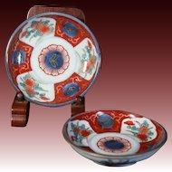 Japanese Antique ko-Imari Pair of Porcelain Plates decorated in Kawai Pattern