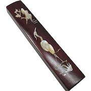 Chinese Vintage Lacquered Wood Wrist Rest Mother of Pearl Tsuru 鶴 Crane