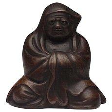 Japanese Vintage Bizen yaki Pottery Okimono Figure of Bodhidharma, Dharma, or Daruma