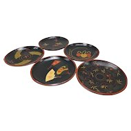 Japanese Vintage Urushi-nuri Shikki 漆器 Set of Five Meimei-zara E-Gawari Plates