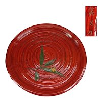 Fine Sanuki-bori Large Urushi Lacquer ware Tray with Snail, SIgned