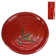 Fine Sanuki-bori Large Urushi Lacquerware Tray with Snail, SIgned