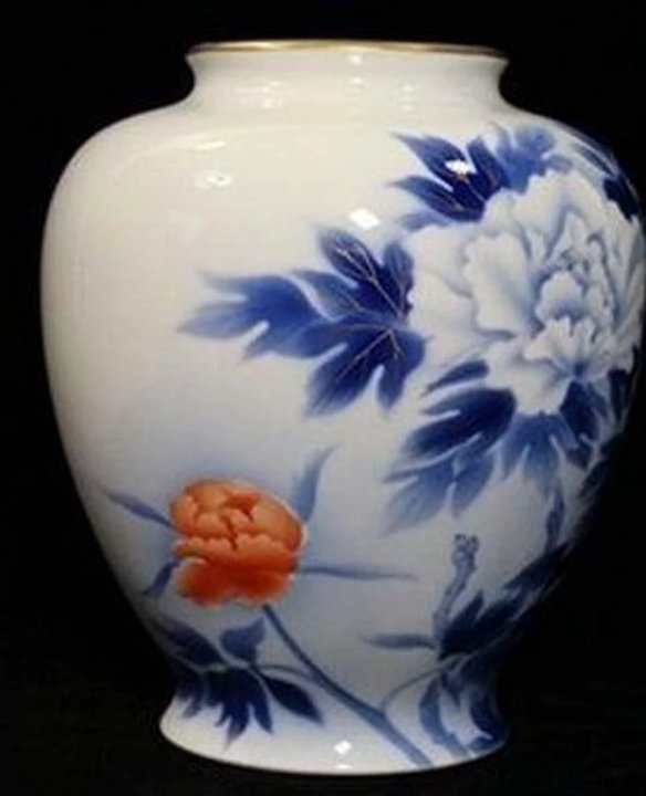 Very Fine Large Vintage Fukagawa Contemporary Peony Vase The Many