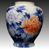 Very Fine Large Vintage Fukagawa Contemporary Peony Vase