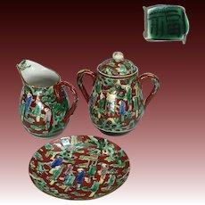 Japanese Old Antique Kutani Mokubei Style Porcelain Small Tea Set