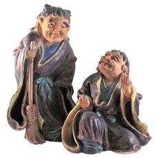 Japanese Vintage Kutani Porcelain Pair Okimono or Statue of Kanzan and Jittoku
