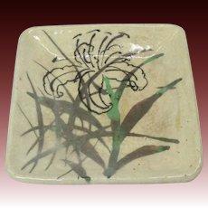 Gorgeous Vintage Japanese Handmade Pottery Black Lily Dish Signed