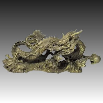 Old Chinese Dragon Okimono or Statue of Copper Mixed Metal
