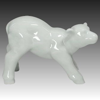 Kyo-yaki  Porcelain Lamb Ornament or Okimono by Famous Potter Kei Ito