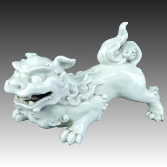 Japanese Antique Celadon Kutani Okimono or Statue Shishi Lion