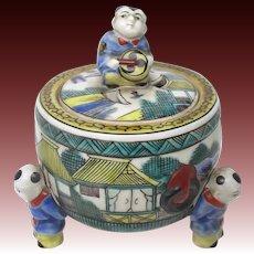 Old Kutani Vintage Porcelain Censer or Incense Burner in Aote Style with Karako