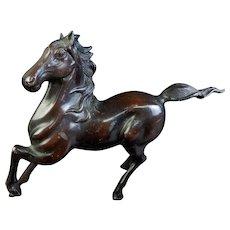 Japanese Vintage Mid-Century Iron Horse Okimono or Statue