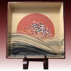 Japanese Mino-Oribe  美濃-織部 Pottery Kashiki Dish by Nakajima Masao Gazan Kiln