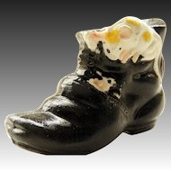 Japanese Vintage Porcelain Black Banko Boot with Applied Playing Mice