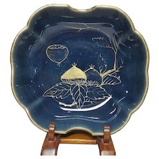 Japanese Antique Azure Glazed Imari Porcelain Bowl