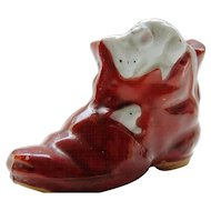 Japanese Vintage Pottery Red Banko Boot with Applied Playing Mice