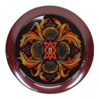 Japanese Vintage Circular Lacquerware- Shikki Tray with Abstact Flower