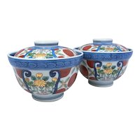 Japanese Vintage Arita Porcelain Pair of Covered Bowls by Famous Hana- Emon