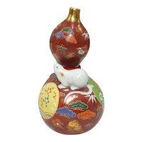Japanese Vintage Kutani-yaki Porcelain Gourd Bottle by Master Potter Choho Nagamine
