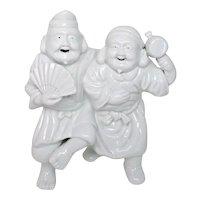 Japanese Vintage Fine Hirado White Porcelain  Ebisu and Daikoku Okimono