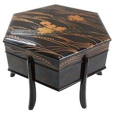 Japanese Vintage Lacquerware Hexagonal Jikiro or Covered Bowl