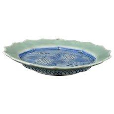 Japanese Antique Large Imari Ozara Porcelain Dish in Sometsuke-Seiji Celadon and Sen-gaki Pattern with Chicken Design