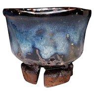 Japanese Vintage Oni- Hagi -yaki Pottery Sake Cup by Famous Seigan Yamane