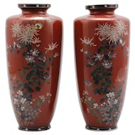 Japanese Antique Pair of Kyo-yaki Enameled Cloisonne Shippo-yaki Vase